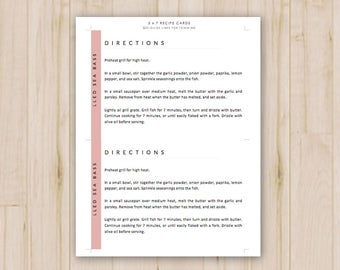 Recipe card template etsy for 5x7 recipe card template for word