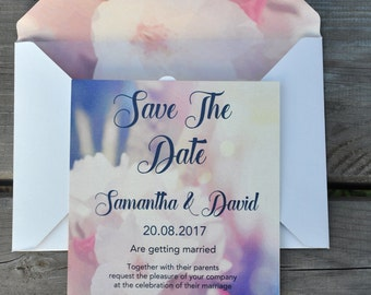 Wedding Invitation / Romantic Invitation / Flower Invitationc / Summer Wedding Invitation