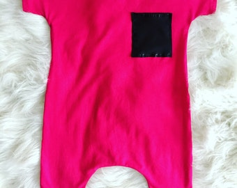 Hot Pink, short sleeve, Harem Romper with Faux Leather Detail, baby girl, modern, trendy, fashion,