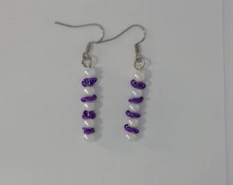 Custom Hand Made Earrings Deep Purple Rosettes with Pearl Beads