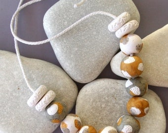 Gentle palette of polymer clay  necklace