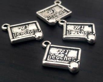 2 #1 Teacher Charms | Teacher Appreciation | Silver Teacher Charm | Chalkboard Charm | Apple Charm | Ready to Ship from USA | AS344-2
