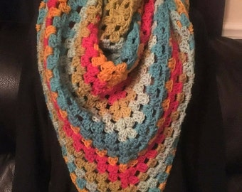 XL Bulky Multicolor Crochet Shawl