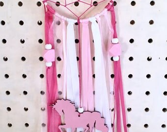 Unicorn Dream Catcher - Wall Hanging - Hoop Art - Unicorn decor - kids room - whimsical decor - Ribbon dream catcher -pink and white