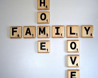 Scrabble Wall Tiles;Home Decor;Farmhouse Decor;Rustic Home Decor;Wood Letter Wall Tiles