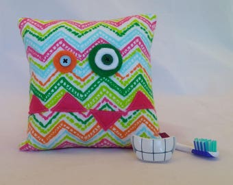 Monster Tooth Fairy Pillow - spotted chevron, pink teeth, pink back