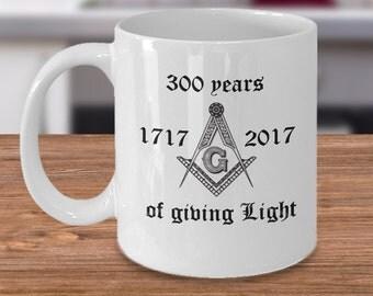 Freemason coffee mug - 300 years of freemasonry cup - masonic gifts