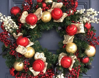 Christmas Wreath with Red and Cream Berries