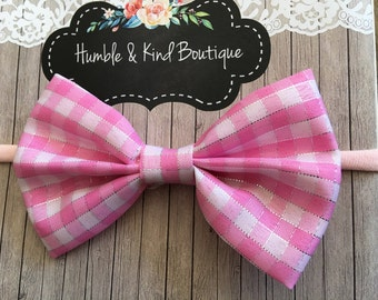 pink checkered Fabric bow, tail bow, spring bow, nylon headband, fabric bow, one size fits all, no dent, infant, toddler