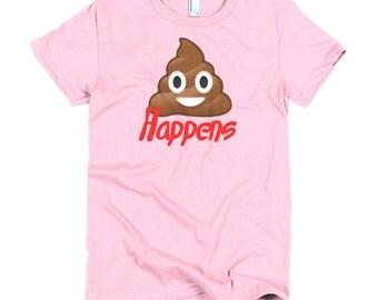 Emoji poop happens women's short sleeve women's t-shirt