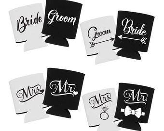 Wedding Can Coolers, Bride and Groom Can Coolers, Wedding Beer Coolers, Can Cooler, Can Cosie, Beer Cooler, Can Insulator