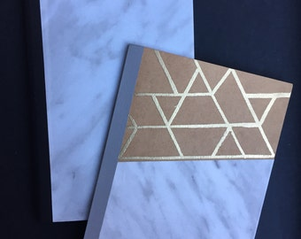 Marble & Gold embossed lined notebooks