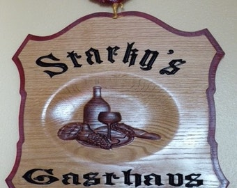 Carved pub style sign with rooster