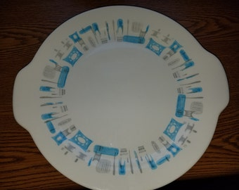 Blue Heaven by Royal handled cake plate - platter