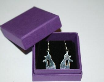 Cat Dangle Earrings 925 Silver Earrings Gift Boxed