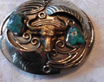Western, silver & turquios Belt Buckle, Vintage