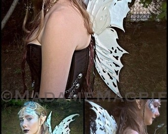 Bespoke, leather Faery wings. 'Oyster'