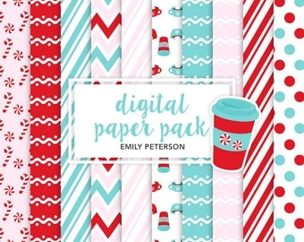Peppermint, Winter, Candy Cane, Coffee - Cute Background, Digital Papers - Commercial Use, Instant Download