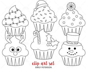 Jolly Cupcakes, Santa Claus, Reindeer - Cute Digital Stamps, Line Art  - Commercial Use, Instant Download