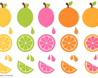 Citrus, Lemon, Lime, Orange, Grapefruit - Cute Clipart, Clip Art - Commercial Use, Instant Download