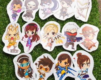 15 character! Cute Overwatch Stickers D.va mercy Genji Hanzo mei  sombra junkrat tracer mccree pharah soldier 76 reaper symmetra widowmaker
