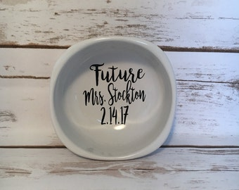 Future Mrs. Ring Dish With Engagement Or Wedding Date, Engagement Party Gift, Engagement Present