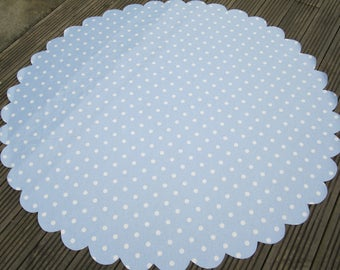 Oil cloth table cloth, BLUE   / white POLKA DOT spot round rectangular scallop edge , great for in / outdoor Powder Blue kitchen table