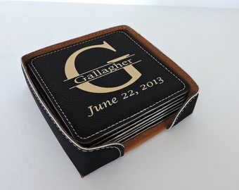 3rd Anniversary ,9th Anniversary Leather Coasters Set of 6 Personalized With Family Name  Monogram and Established Date