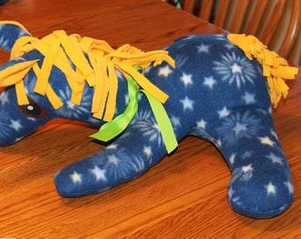 Horse, Blue, Fleece Horse, blue horse,  Yellow Mane, stuffed, pony, stuffed animal, stuffed horse pillow, baby horse toy, nursery decor