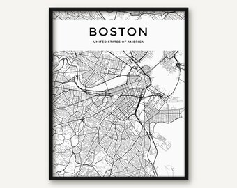 Boston Map Print, Boston Print, Black and White Boston City Map, Boston Wall Art, Boston Decor, Map of Boston, Street Map, Massachusetts Map