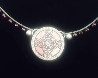 Celtic Warrior Maiden, sparkle,sheild,choker,necklace,pendant,charm,bib,cameo,glass beads,handmade,boho,steampunk,gothic fantasy