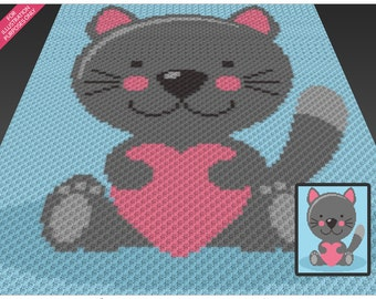 Cat Love crochet blanket pattern; c2c, cross stitch; knitting; graph; pdf download; no written counts or row-by-row instructions