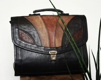 Black Leather Handbag With Long Strap