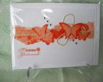 Birthday greeting card greeting card orange butterflies