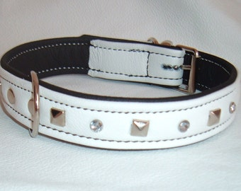 White on Black leather studded dog collar with Diamantes and Black Stitching