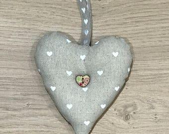 Love Heart Hanger in Beige/White