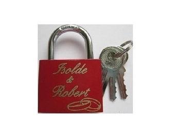 Love lock with engraved lock laser padlock wedding rings
