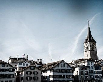 Blue Skies in Zurich, Switzerland, Europe, Travel Photography, Fine Art Print, Wall Art