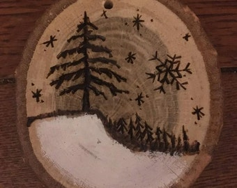 Wood Burned Winter Scene Ornament