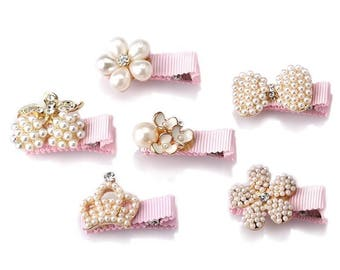 Luxury Rhinestones And Pearls Mini Hair-Clips Set of Six