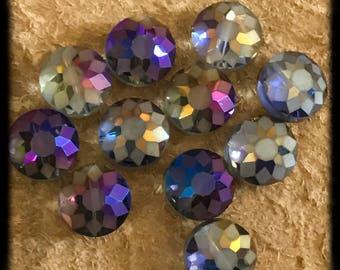 Purple And Green Iridescent Sunflower Rondel Czech Glass Beads - 15mm - 10 Beads - B4