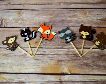 Woodland friends Cupcake topper Set of 12- Fox-Deer-Beaver-Squirrel-Woodland Critters- forest friends animals birthday party baby shower