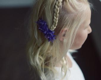 Flower hair clip,  blue hair clip on barrette clip, flower girl hair clip