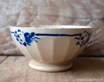 Lovely french antique white and blue Cafe au lait bowl
