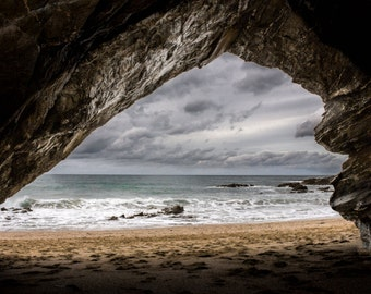 Atlantic 0cean, beach art, Ocean art, Seascape photography, large print, Fine art photography print,photo print, surf print, 'Storm cave'
