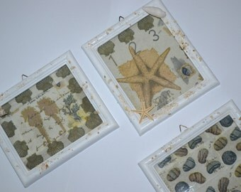 check sea theme, pictures from napkins, sand and shells, sea air, Beach House, decorating
