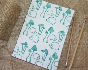 Hedgehog A5 Notebook, Lined Notebook, Pocket Notebook, A6 Notebook, Lined Journal, Cute Notebook, Small Notebook, Hedgehog Gift, Fabric book