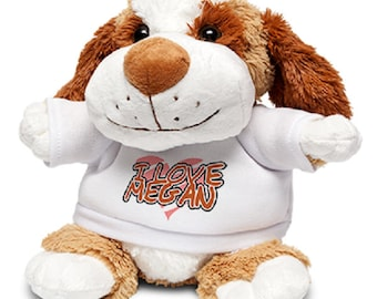 Dog soft toy with custom printed shirt - your text your design - perfect gift for all occasions!