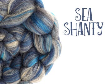 Blended top for spinning - 23 micron Merino, Alpaca, and silk - Blue - 100g/3.5oz - SEA SHANTY