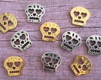 Mexican Skull Zamak Connector, Zamak Connectors, Gold and Silver, DIY Bracelets, DIY Jewelry    2,5 cms X 2,7 cms / 0,98'' X 1,06''   
